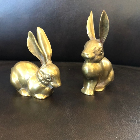 None Other - Pair Brass-like rabbits
